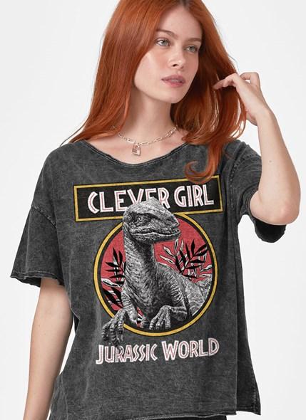 Camiseta Ampla Jurassic World Clever Girl Logo