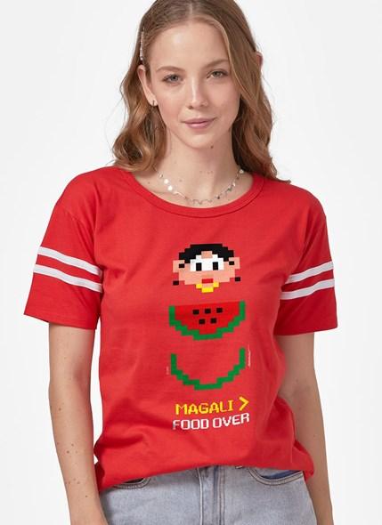 Camiseta Athletic Tuma da Mônica Magali Food Over