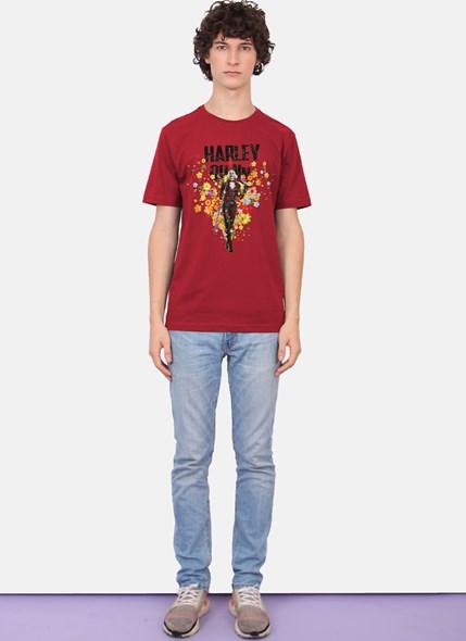 Camiseta Esquadrão Suicida Arlequina Flowers