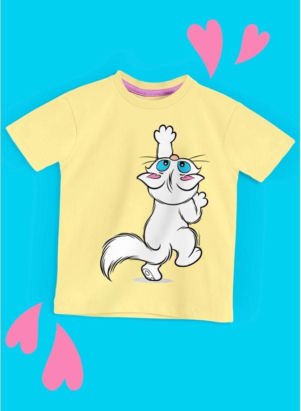 Camiseta Infantil Turma da Mônica Mingau Brincando