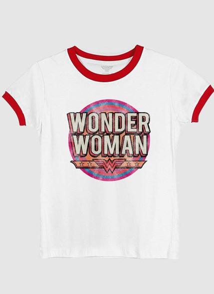 Camiseta Ringer Mulher Maravilha Vintage