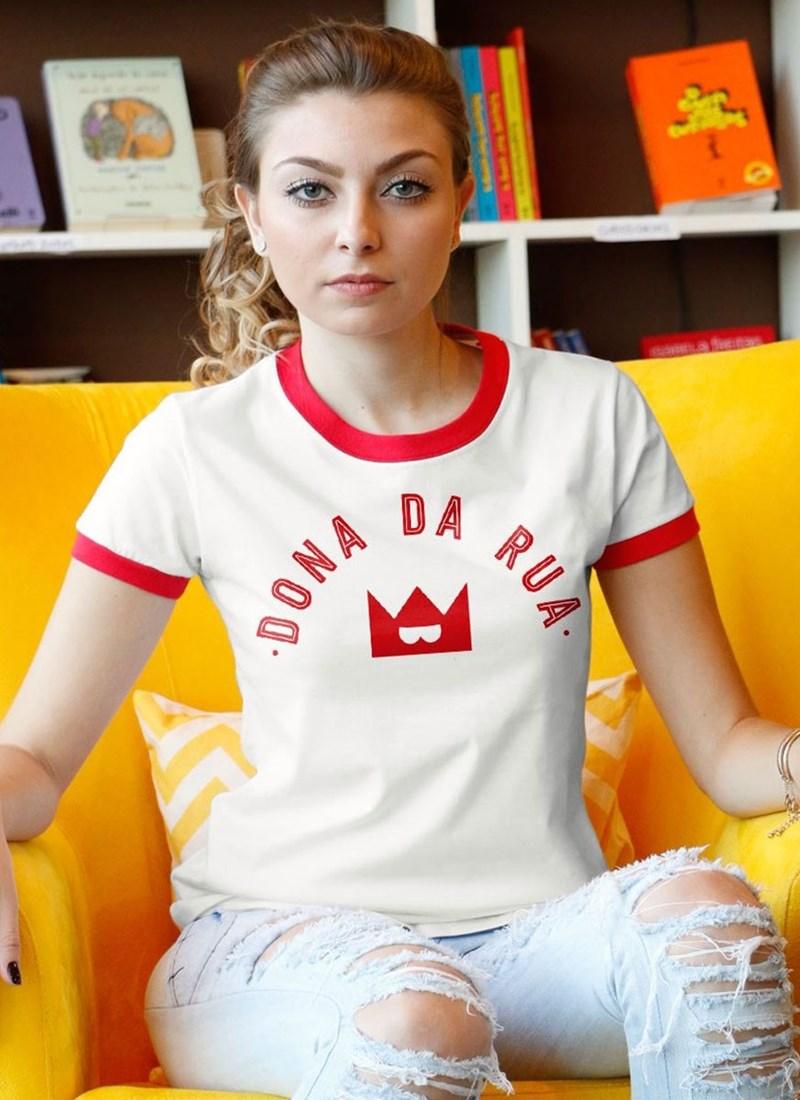 Camiseta Ringer Turma da Mônica Dona da Rua