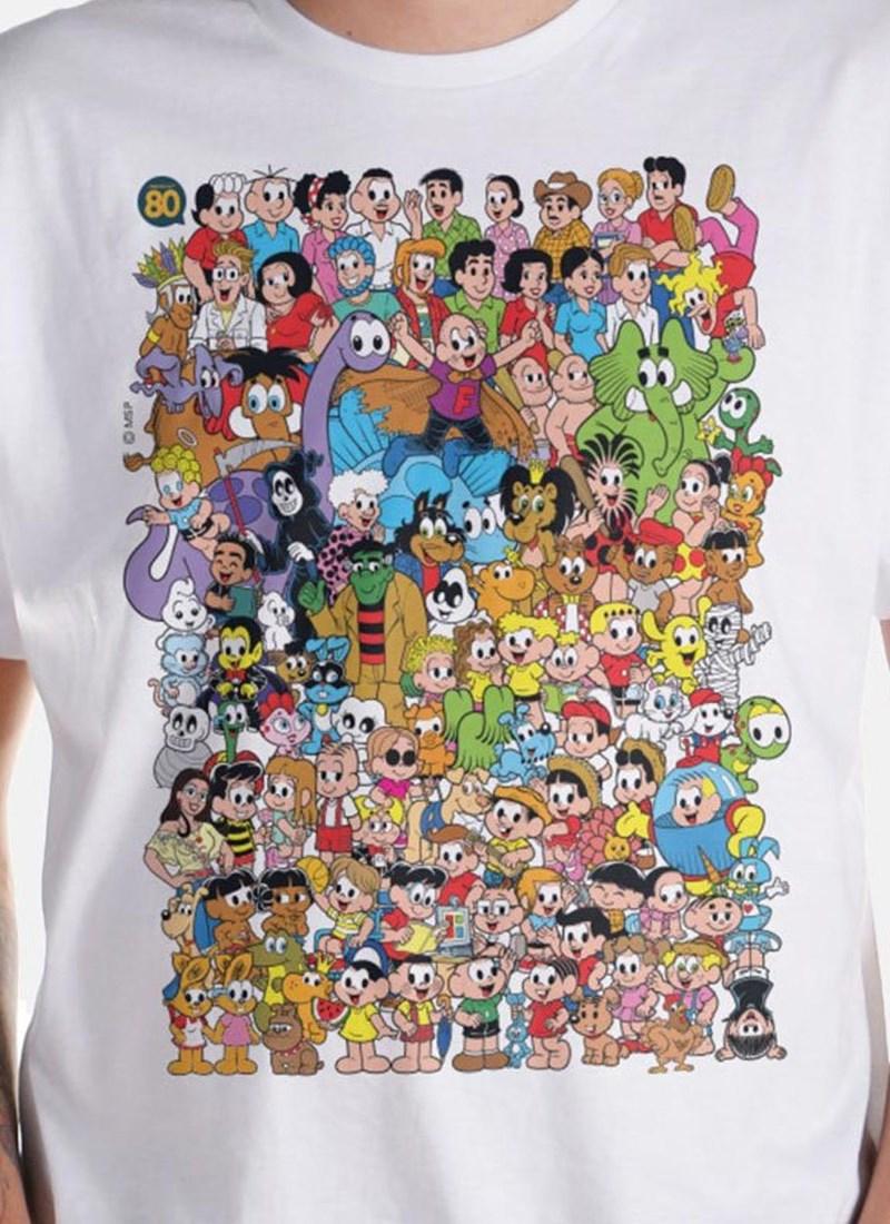 Camiseta Turma da Mônica 80 Anos Colors