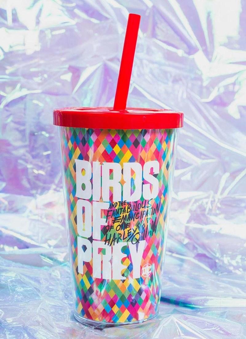 Copo Duplo com Tampa e Canudo Birds Of Prey Colors