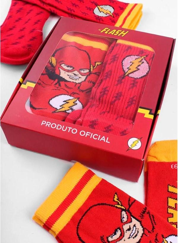 Kit com 2 Meias Cano Alto The Flash