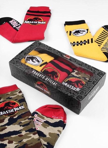Kit com 3 Meias Cano Alto Jurassic Park