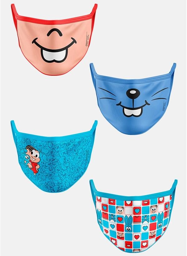 Kit com 4 Máscaras Mônica e Sansão