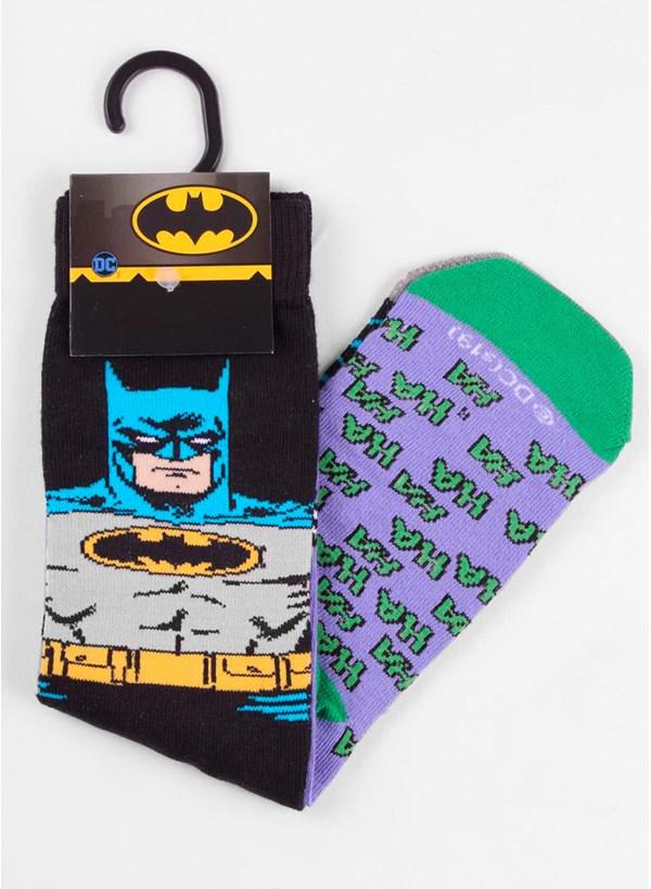 Meia Cano Alto Coringa e Batman